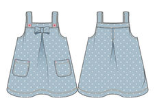 Light blue denim sundress with polka-dot pattern. Front and back view of a denim sundress with polka-dot pattern vector illustration