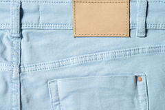 Light blue denim textile for background pocket detail Royalty Free Stock Photography