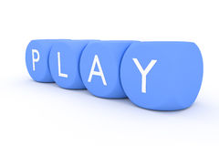 Light blue dices in a row play Stock Images