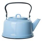 Light blue enamelled teapot isolated on white background. Close-up kettle isolated on white background Stock Images