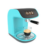 Light blue espresso coffee machine with touch screen Royalty Free Stock Images