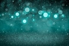 Light blue wonderful sparkling glitter lights defocused bokeh abstract background with falling snow flakes fly, festival mockup stock photography
