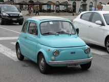 Light blue Fiat 500 royalty free stock images