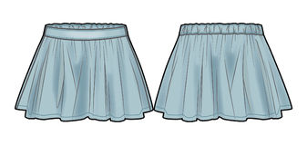 Light blue flared denim skirt. Front and back view of a skirt vector illustration