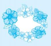 Light blue floral frame Stock Images