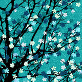 Light blue floral tree print Royalty Free Stock Photos