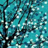 Light blue floral tree print Royalty Free Stock Photos