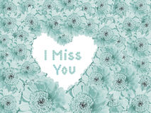 Light blue flower background with heart and text message Royalty Free Stock Photo