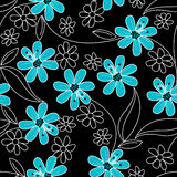 Light blue flowers on black and white embroidery in a seamless p Royalty Free Stock Photo