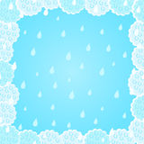 Light Blue Fluffy Cloud Frame with Rain Background Royalty Free Stock Images