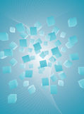 Light blue flying cubes abstract background. Vector illustration of abstract flying cubes in the light blue space stock illustration