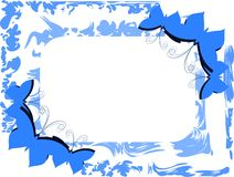 Light blue frame  with butterflies Stock Photo