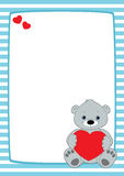Light blue frame grey teddy. Vector frame with light blue and white stripes. Grey teddy bear sitting in the lower right corner, holding red heart. Place for text royalty free illustration
