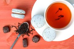 Light blue french macarons with earl gray tea and chocolate. On red wooden table Stock Image