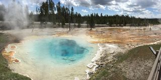 Light blue geyser stock image