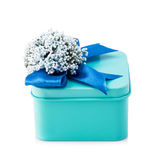 Light blue gift box. With blue ribbon and white flowers isolated on white background. The file includes a clipping path, so it`s easy to work Stock Photo