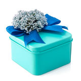 Light blue gift box. With blue ribbon and white flowers isolated on white background. The file includes a clipping path, so it`s easy to work Royalty Free Stock Photo