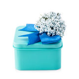 Light blue gift box. With blue ribbon and white flowers isolated on white background. The file includes a clipping path, so it`s easy to work Stock Images