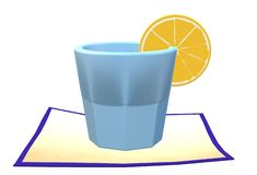 A light blue glass of lemon fruit juice punch with a slice of lemon resting on a coaster. A computer generated illustration image of a light blue glass of lemon vector illustration