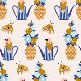 Light blue and gold flowers and birds in a seamless pattern design