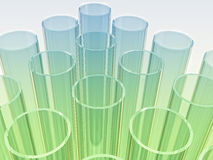 Light blue and green laboratory test tubes on whit Royalty Free Stock Images