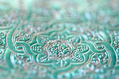 Light blue green teal turquoise with gold and silver - luxurious ornamental pattern. Stock Photo