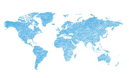 Light blue grungy vector map of the world - continents Stock Image
