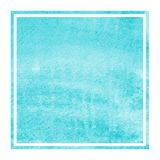 Light blue hand drawn watercolor rectangular frame background texture with stains. Modern design element stock images
