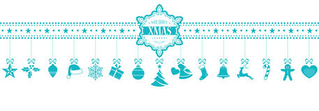 Light blue hanging Christmas ornaments banner with snowflake. Set of 15 Christmas icons, symbols hanging from a horizontal border with a snowflake containing the Stock Image