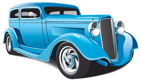 Light blue hot rod. Vectorial image of light blue classical hot rod, isolated on white background. File contains blends and gradients Stock Image