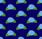 Light Blue Hydrangea Flower Seamless on Navy Blue Background. Vector Illustration. Royalty Free Stock Photo