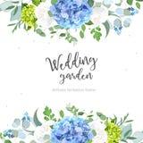 Light blue hydrangea, white rose, forget me not wildflowers, euc. Summer botanical vector design banner. Light blue hydrangea, white rose, forget me not vector illustration
