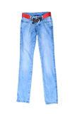 Light blue jeans female with a red belt, isolated on white Stock Image
