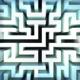 Light blue labyrinth wall structure in top blured view Stock Photo