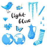 Light Blue. Learn the color. Education set. Illustration of primary colors. Vector illustration Royalty Free Stock Image
