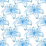 Light blue lily floral seamless pattern Stock Image