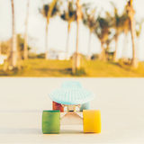 Light blue longboard penny board with multicolored wheels ready Royalty Free Stock Images