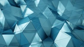 Light blue low poly surface abstract 3D rendering. Light blue low poly surface. Abstract polygonal shape. 3D rendering with DOF Royalty Free Illustration