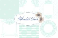 Light blue mandala card template set background Royalty Free Stock Photo