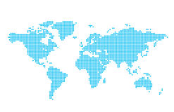 Light blue map of world - circles - vector  Stock Photo