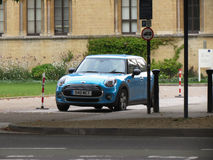 Light blue Mini Cooper car in Oxford Stock Image