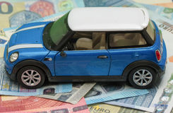 Light blue Mini Cooper car 2013 version Royalty Free Stock Images