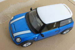 Light blue Mini Cooper car (2013 version) Royalty Free Stock Images