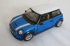 Light blue Mini Cooper car (2013 version) Stock Image