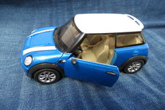 Light blue Mini Cooper car 2013 version Stock Photo