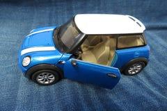 Light blue Mini Cooper car 2013 version Stock Image