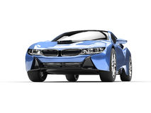 Light blue modern sports car. Front view closeup shot Stock Photo