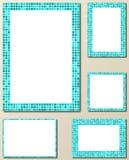 Light blue mosaic page layout border template set Royalty Free Stock Image