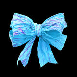 Light blue mulberry paper bow on black  background Stock Photo