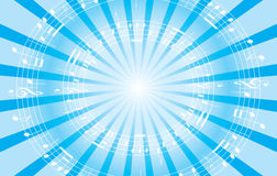 Light blue music background with radial rays - EPS Stock Photography